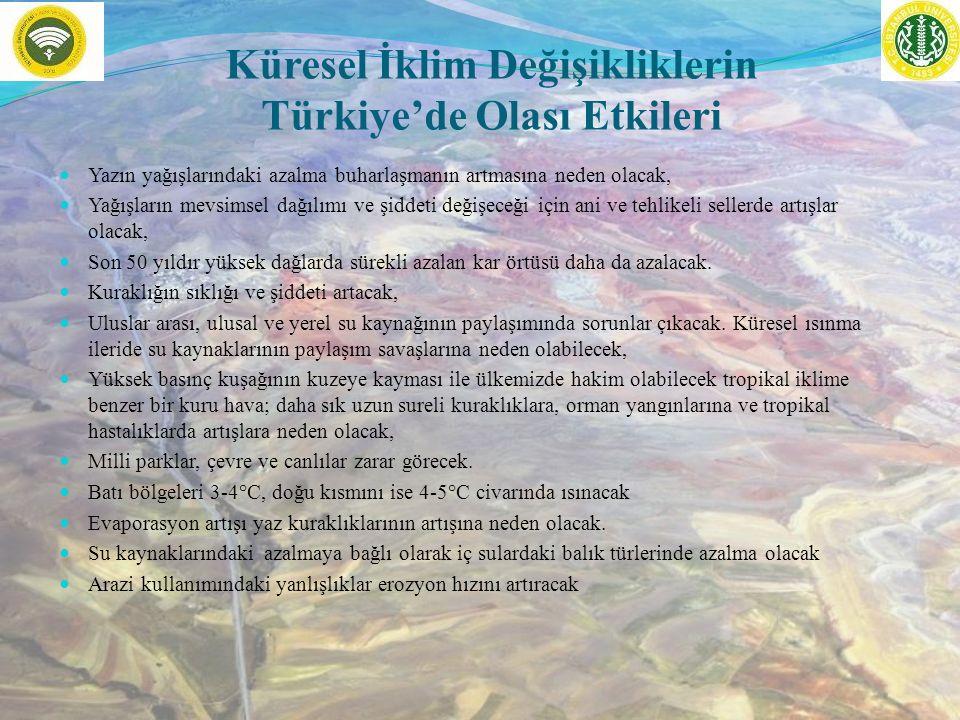 Küresel İklim Değişikliklerin Türkiye'de Olası Etkileri Yazın yağışlarındaki azalma buharlaşmanın artmasına neden olacak, Yağışların mevsimsel dağılımı ve şiddeti değişeceği için ani ve tehlikeli sellerde artışlar olacak, Son 50 yıldır yüksek dağlarda sürekli azalan kar örtüsü daha da azalacak.