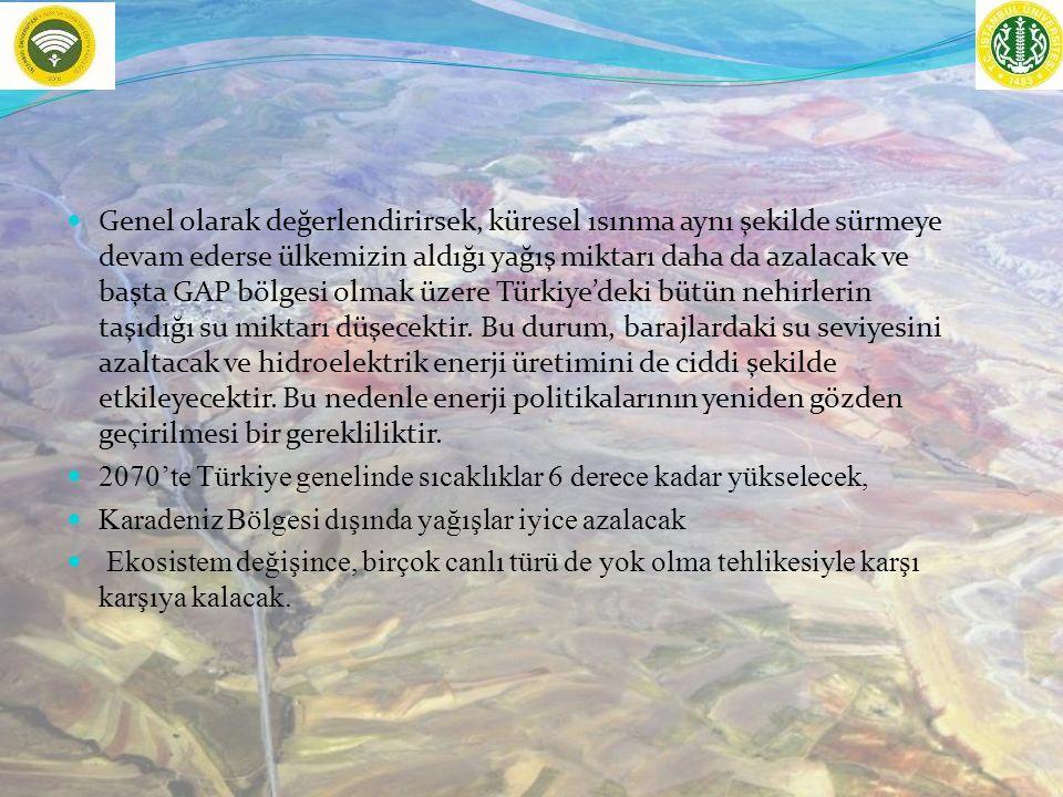 Genel olarak değerlendirirsek, küresel ısınma aynı şekilde sürmeye devam ederse ülkemizin aldığı yağış miktarı daha da azalacak ve başta GAP bölgesi olmak üzere Türkiye'deki bütün nehirlerin taşıdığı su miktarı düşecektir.