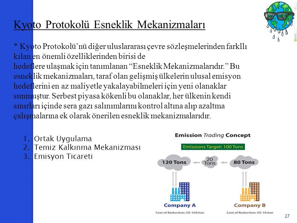 27 Kyoto Protokolü Esneklik Mekanizmaları * Kyoto Protokolü'nü diğer uluslararası çevre sözleşmelerinden farkllı kılan en önemli özelliklerinden biris