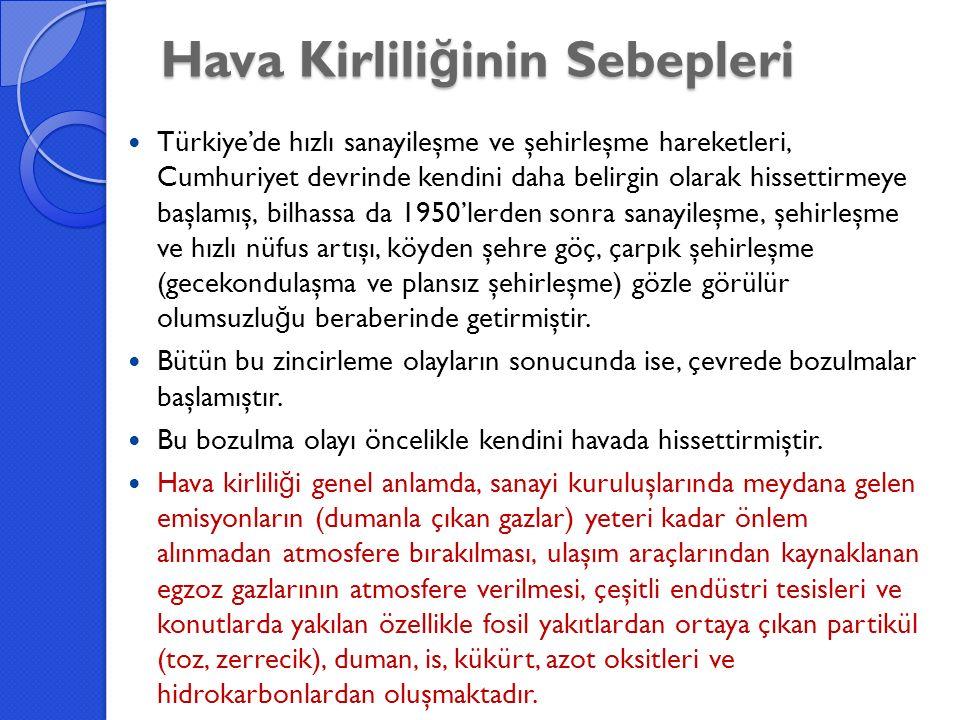 Hava Kirlili ğ inin Sebepleri Türkiye'de hızlı sanayileşme ve şehirleşme hareketleri, Cumhuriyet devrinde kendini daha belirgin olarak hissettirmeye b