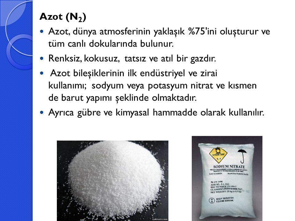 Azot (N 2 ) Azot, dünya atmosferinin yaklaşık %75'ini oluşturur ve tüm canlı dokularında bulunur. Renksiz, kokusuz, tatsız ve atıl bir gazdır. Azot bi