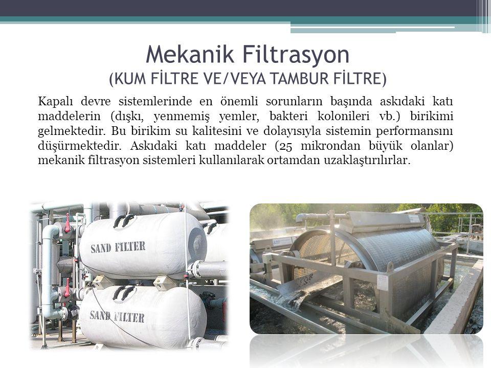 Mekanik Filtrasyon (KUM FİLTRE VE/VEYA TAMBUR FİLTRE) Kapalı devre sistemlerinde en önemli sorunların başında askıdaki katı maddelerin (dışkı, yenmemi