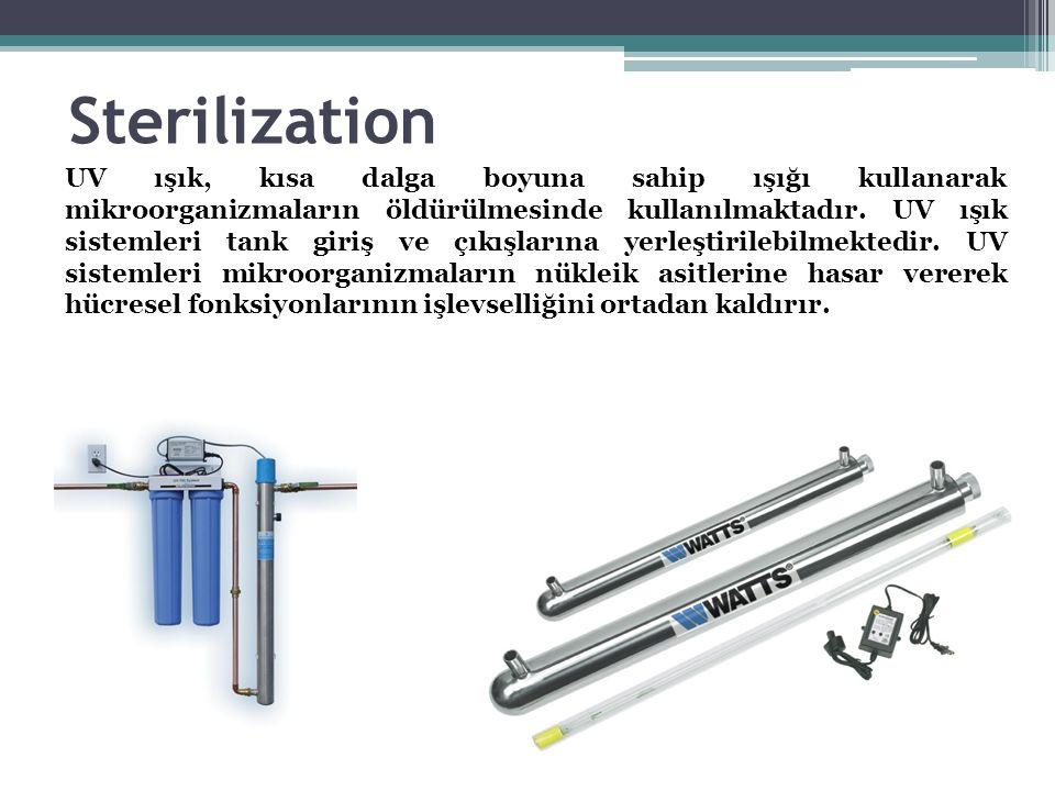Sterilization UV ışık, kısa dalga boyuna sahip ışığı kullanarak mikroorganizmaların öldürülmesinde kullanılmaktadır. UV ışık sistemleri tank giriş ve