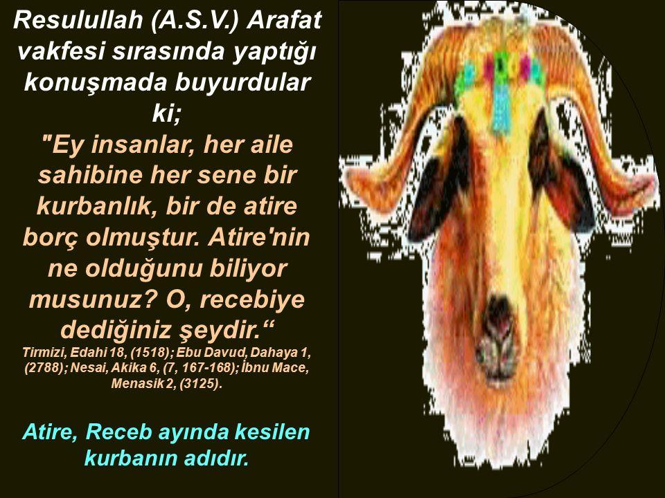 Resulullah (A.S.V.) Arafat vakfesi sırasında yaptığı konuşmada buyurdular ki;