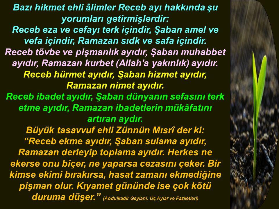 Bazı hikmet ehli âlimler Receb ayı hakkında şu yorumları getirmişlerdir: Receb eza ve cefayı terk içindir, Şaban amel ve vefa içindir, Ramazan sıdk ve safa içindir.