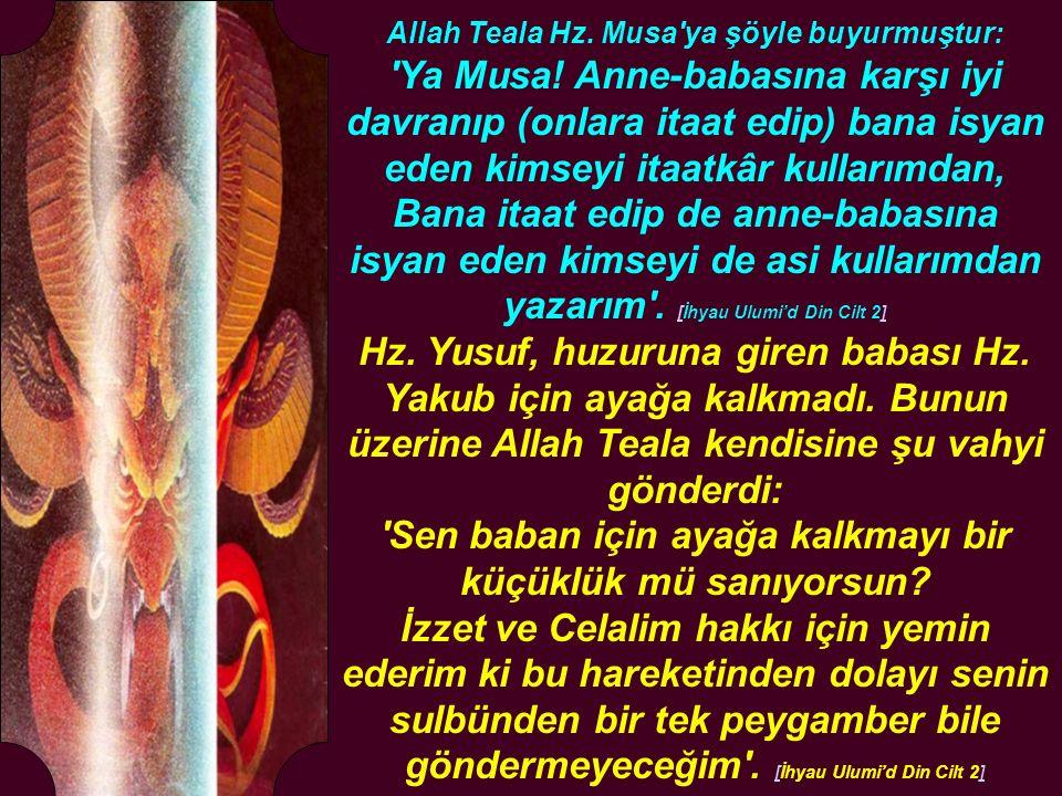 Allah Teala Hz. Musa'ya şöyle buyurmuştur: 'Ya Musa! Anne-babasına karşı iyi davranıp (onlara itaat edip) bana isyan eden kimseyi itaatkâr kullarımdan