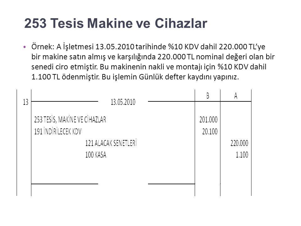 252 Binalar Örnek: A İşletmesi 12.05.2010 tarihinde %10 KDV dahil 550.000 TL'ye bir bina satın almış ve karşılığında çek vermiştir.