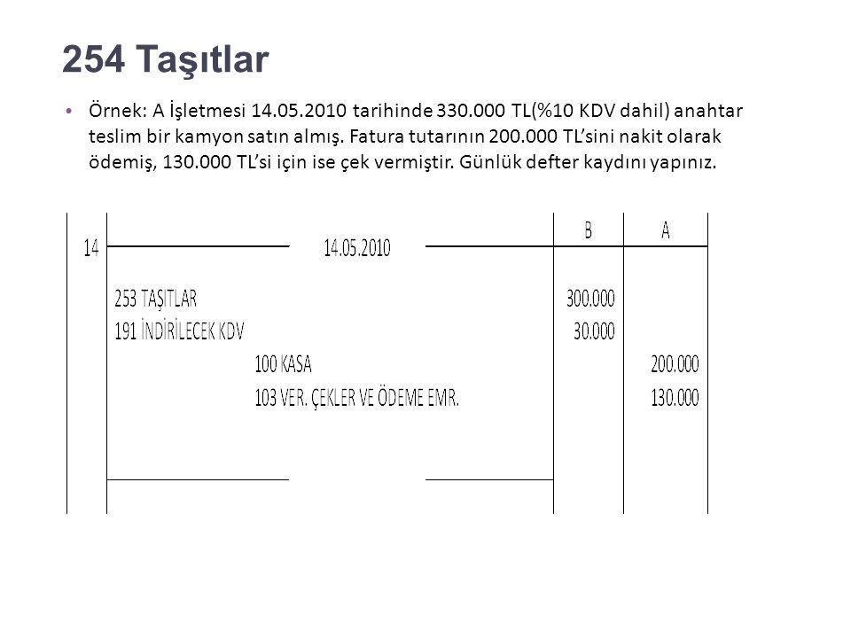 253 Tesis Makine ve Cihazlar Örnek: A İşletmesi 13.05.2010 tarihinde %10 KDV dahil 220.000 TL'ye bir makine satın almış ve karşılığında 220.000 TL nominal değeri olan bir senedi ciro etmiştir.