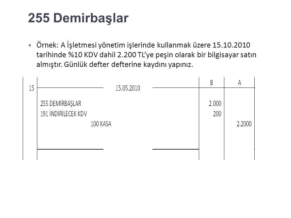 254 Taşıtlar Örnek: A İşletmesi 14.05.2010 tarihinde 330.000 TL(%10 KDV dahil) anahtar teslim bir kamyon satın almış.