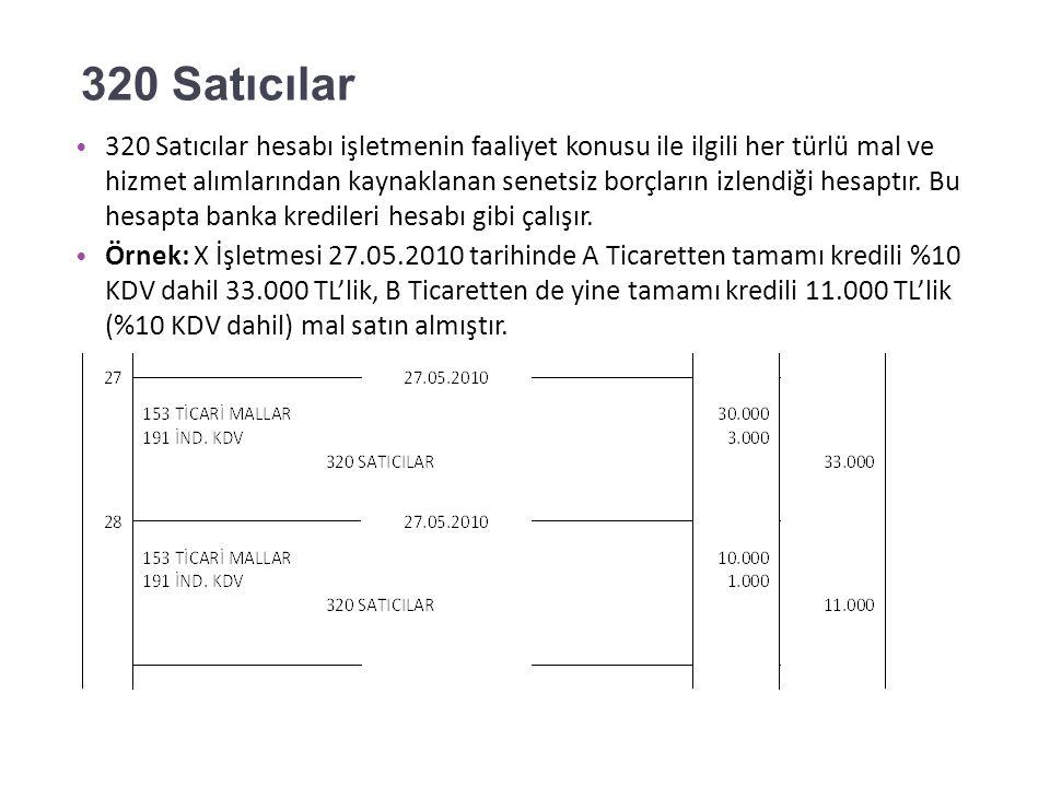 300 Banka Kredileri X İşletmesi 24.05.2010 tarihinde T Bankasından 20.000 TL kredi almıştır.