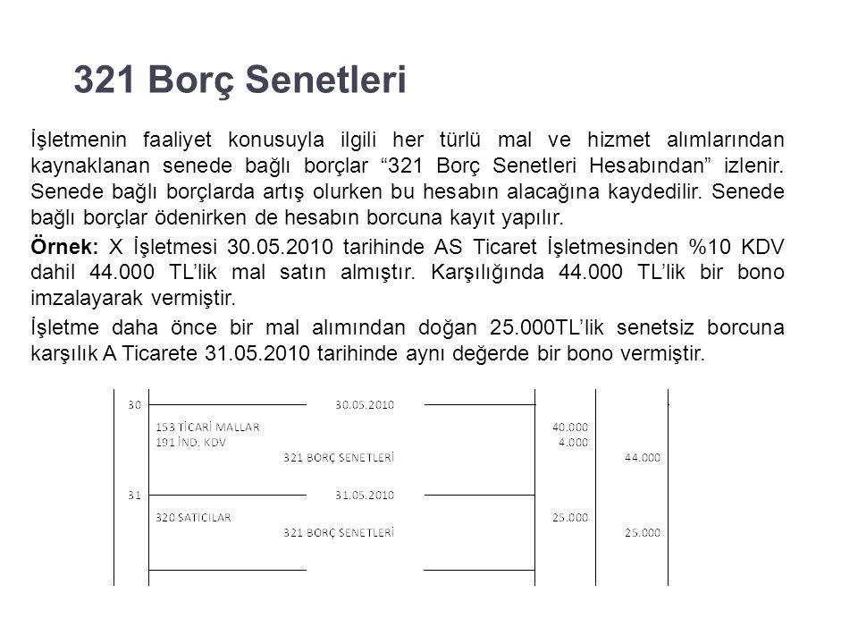 320 Satıcılar Örnek: X İşletmesi 29.05.2010 tarihinde A Ticarete olan borcunun 5.000 TL'sini banka hesabından ödemiştir.