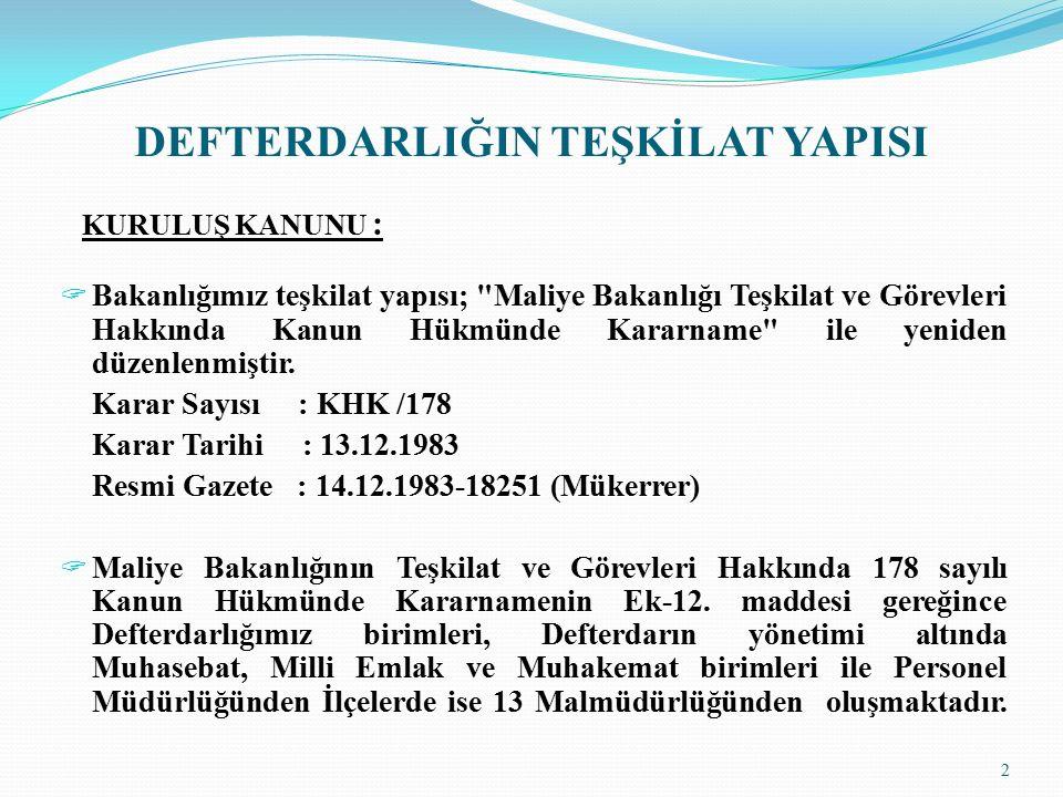 DEFTERDARLIĞIN TEŞKİLAT YAPISI KURULUŞ KANUNU :  Bakanlığımız teşkilat yapısı; Maliye Bakanlığı Teşkilat ve Görevleri Hakkında Kanun Hükmünde Kararname ile yeniden düzenlenmiştir.