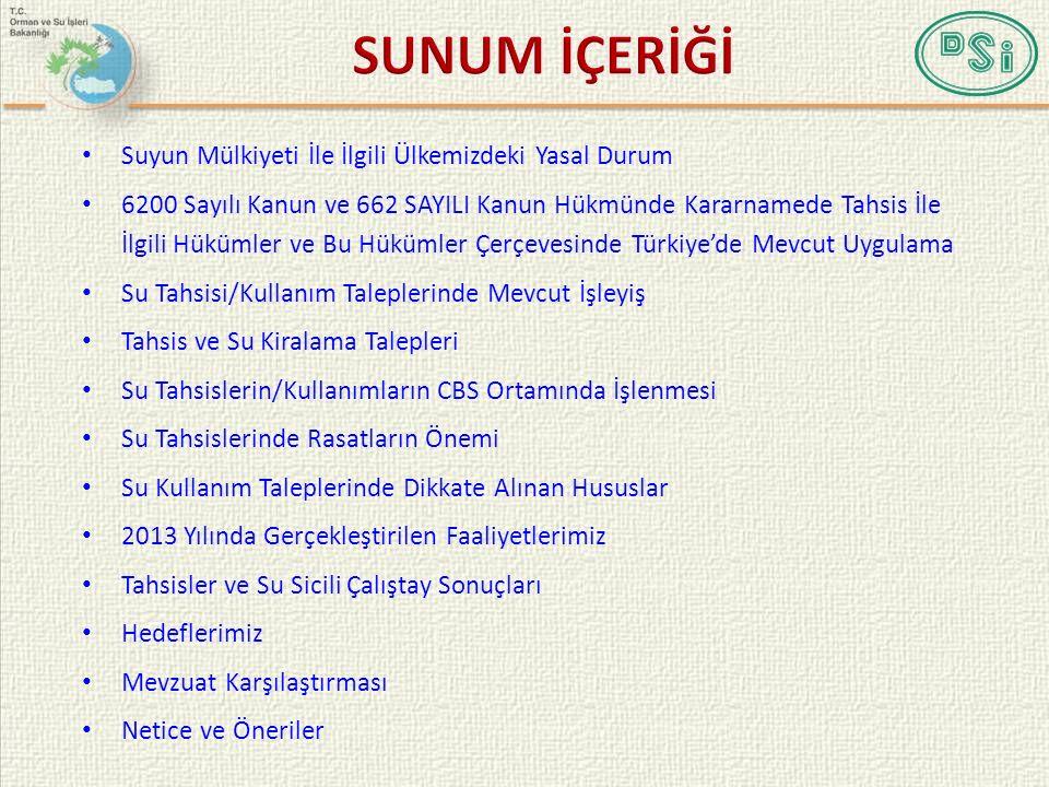 SU TAHSİSLERİN/KULLANIMLARIN CBS ORTAMINDA İŞLENMESİ