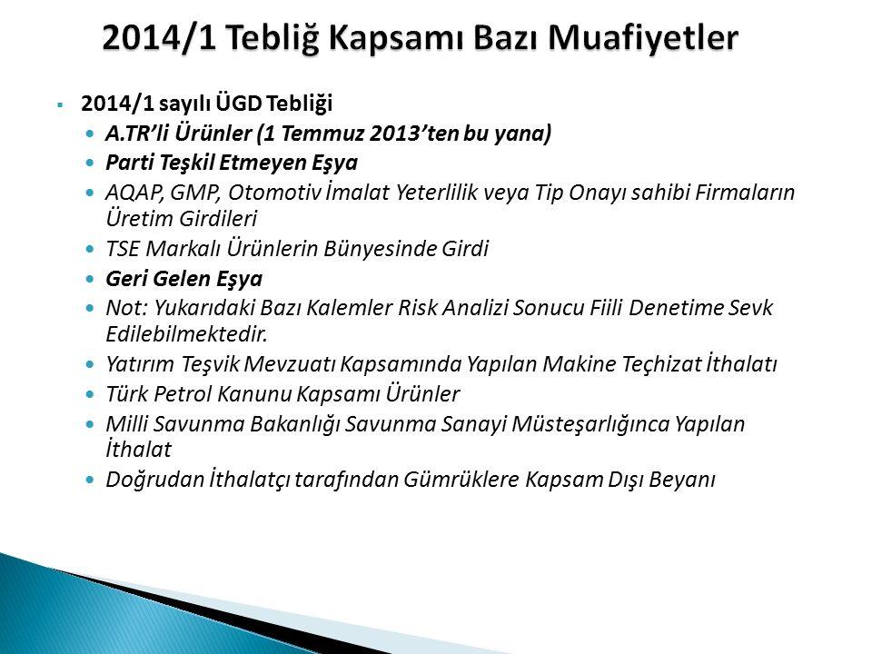  2014/1 sayılı ÜGD Tebliği A.TR'li Ürünler (1 Temmuz 2013'ten bu yana) Parti Teşkil Etmeyen Eşya AQAP, GMP, Otomotiv İmalat Yeterlilik veya Tip Onayı