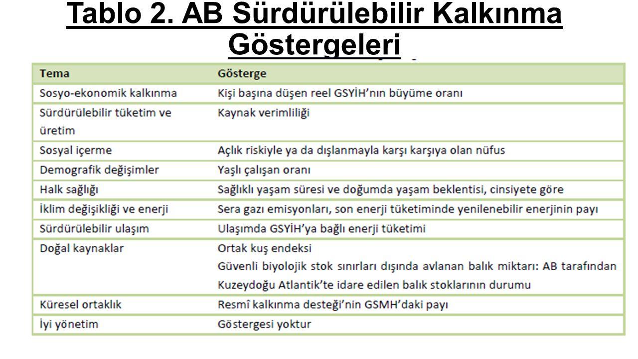 Tablo 2. AB Sürdürülebilir Kalkınma Göstergeleri