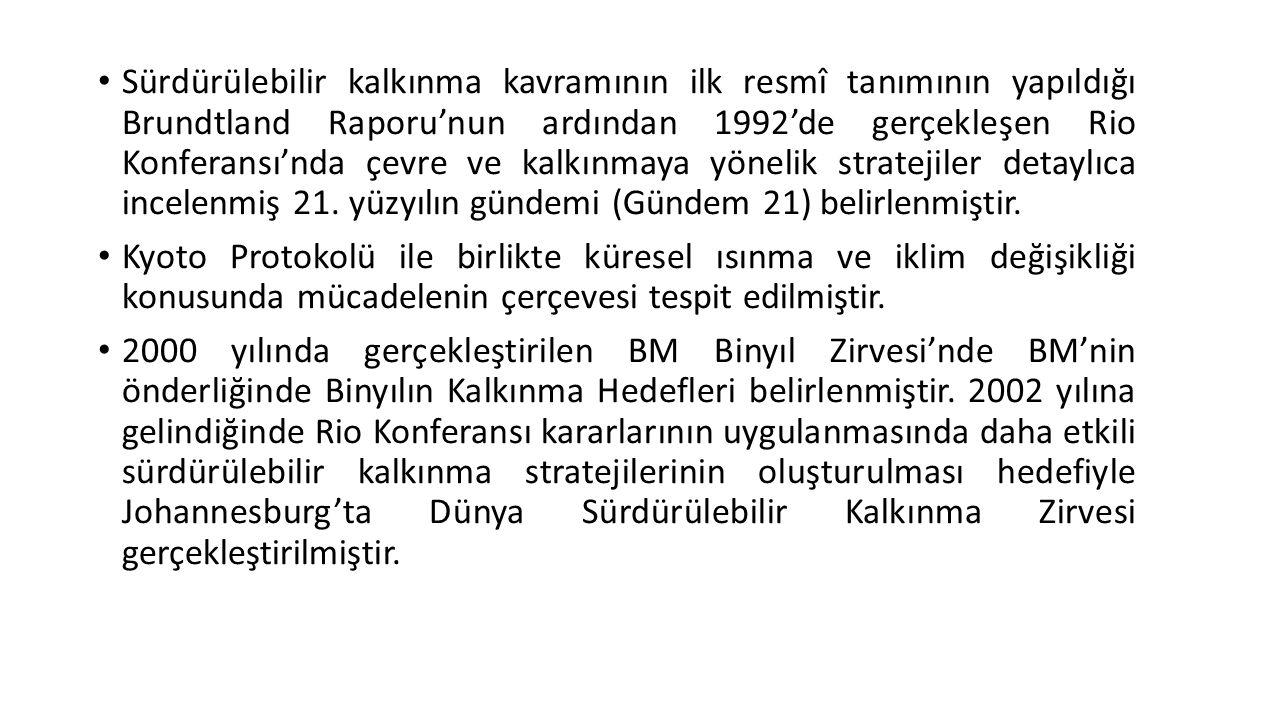 Sürdürülebilir kalkınma kavramının ilk resmî tanımının yapıldığı Brundtland Raporu'nun ardından 1992'de gerçekleşen Rio Konferansı'nda çevre ve kalkın