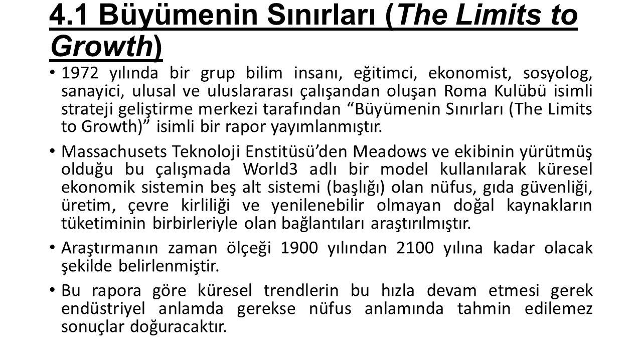 4.1 Büyümenin Sınırları (The Limits to Growth) 1972 yılında bir grup bilim insanı, eğitimci, ekonomist, sosyolog, sanayici, ulusal ve uluslararası çal