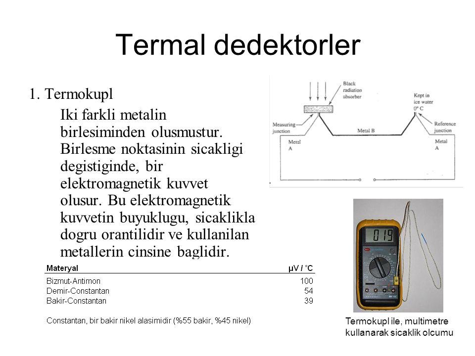 Termal dedektorler 1. Termokupl Iki farkli metalin birlesiminden olusmustur. Birlesme noktasinin sicakligi degistiginde, bir elektromagnetik kuvvet ol