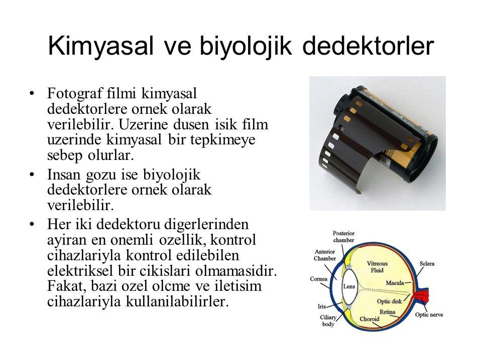 Kimyasal ve biyolojik dedektorler Fotograf filmi kimyasal dedektorlere ornek olarak verilebilir. Uzerine dusen isik film uzerinde kimyasal bir tepkime