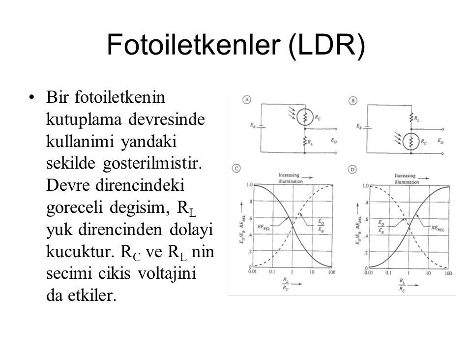 Fotoiletkenler (LDR) Bir fotoiletkenin kutuplama devresinde kullanimi yandaki sekilde gosterilmistir. Devre direncindeki goreceli degisim, R L yuk dir