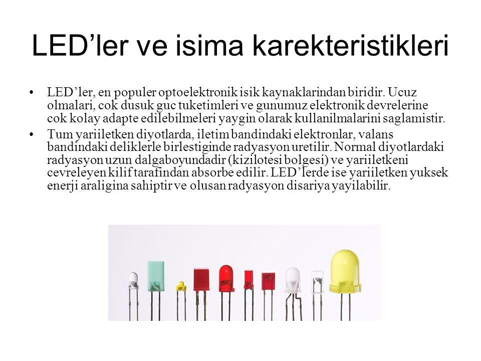 LED'ler ve isima karekteristikleri LED'ler, en populer optoelektronik isik kaynaklarindan biridir. Ucuz olmalari, cok dusuk guc tuketimleri ve gunumuz