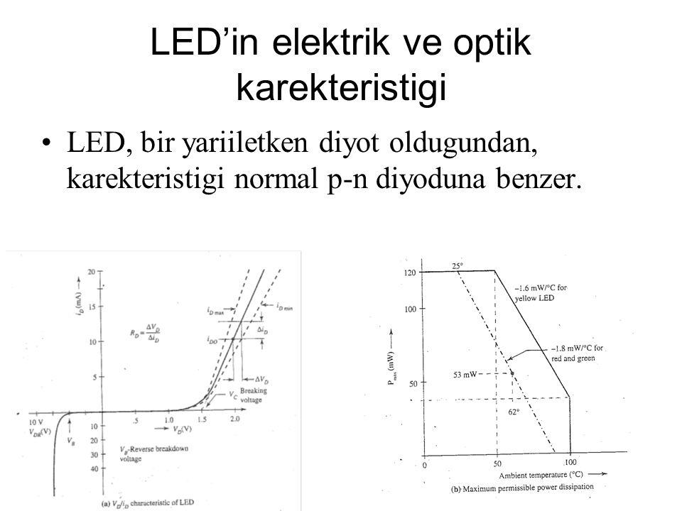 LED'in elektrik ve optik karekteristigi LED, bir yariiletken diyot oldugundan, karekteristigi normal p-n diyoduna benzer.
