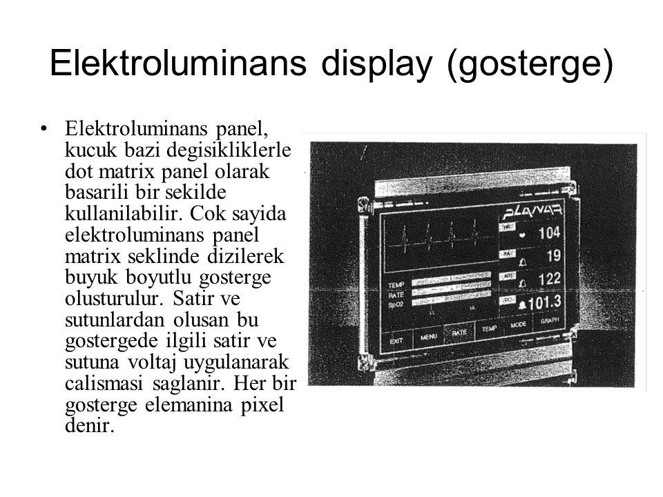 Elektroluminans display (gosterge) Elektroluminans panel, kucuk bazi degisikliklerle dot matrix panel olarak basarili bir sekilde kullanilabilir. Cok