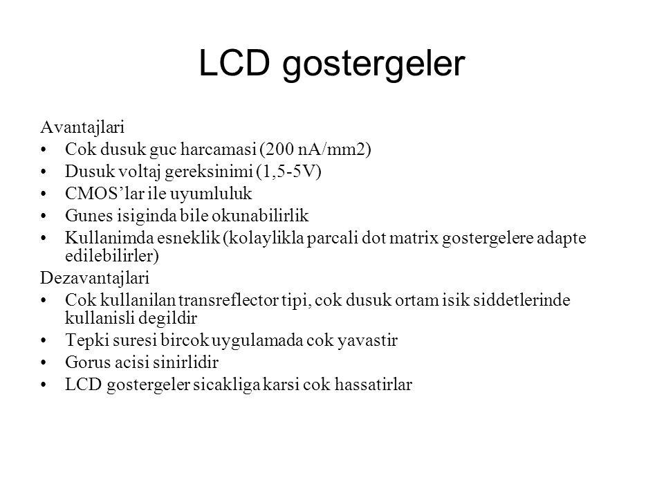 LCD gostergeler Avantajlari Cok dusuk guc harcamasi (200 nA/mm2) Dusuk voltaj gereksinimi (1,5-5V) CMOS'lar ile uyumluluk Gunes isiginda bile okunabil
