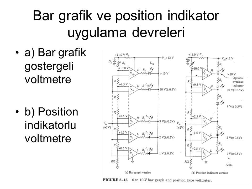 Bar grafik ve position indikator uygulama devreleri a) Bar grafik gostergeli voltmetre b) Position indikatorlu voltmetre