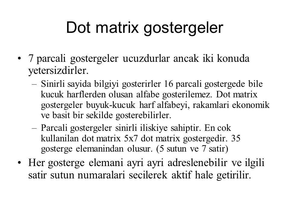 Dot matrix gostergeler 7 parcali gostergeler ucuzdurlar ancak iki konuda yetersizdirler. –Sinirli sayida bilgiyi gosterirler 16 parcali gostergede bil
