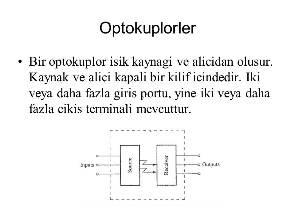 Optokuplorler Bir optokuplor isik kaynagi ve alicidan olusur. Kaynak ve alici kapali bir kilif icindedir. Iki veya daha fazla giris portu, yine iki ve