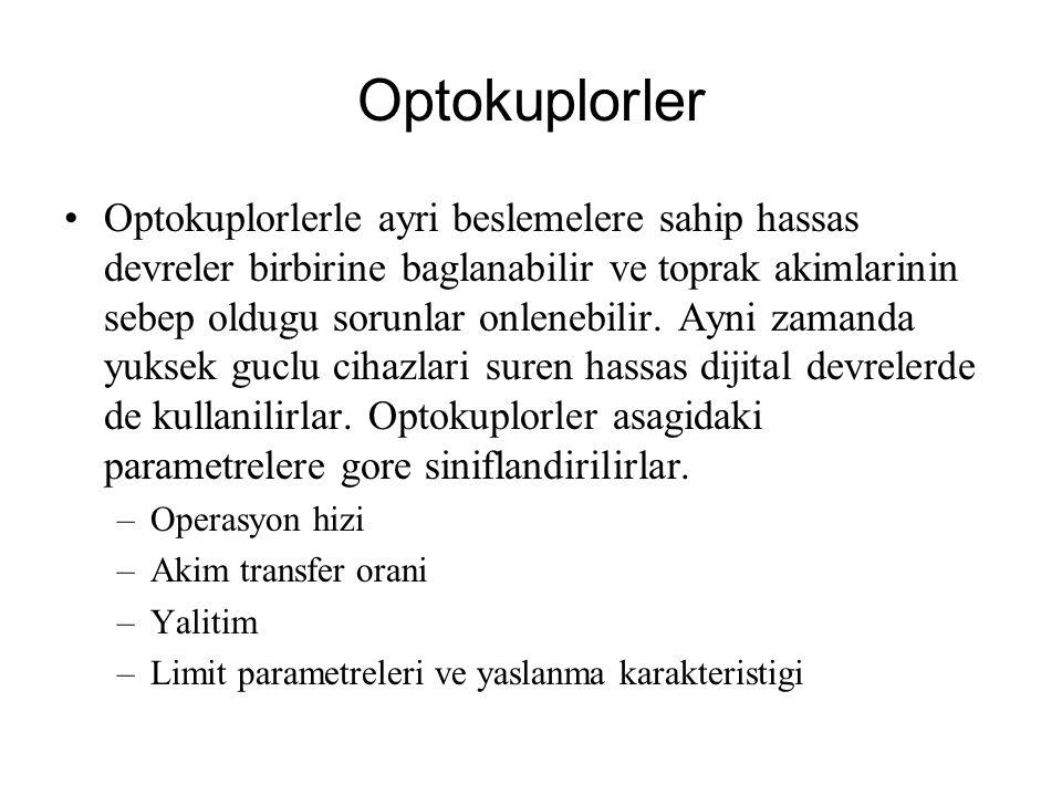 Optokuplorler Optokuplorlerle ayri beslemelere sahip hassas devreler birbirine baglanabilir ve toprak akimlarinin sebep oldugu sorunlar onlenebilir. A