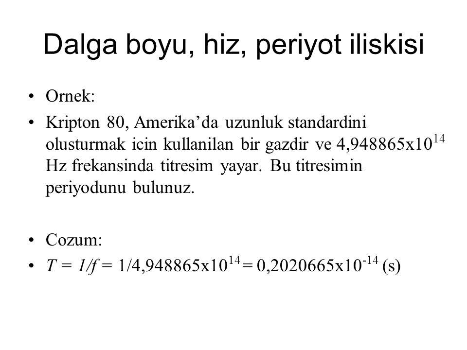 Dalga boyu, hiz, periyot iliskisi Ornek: Bir onceki ornegi dikkate alirsak, Kripton 80'nin yaydigi titresimin dalga boyu kac metredir.