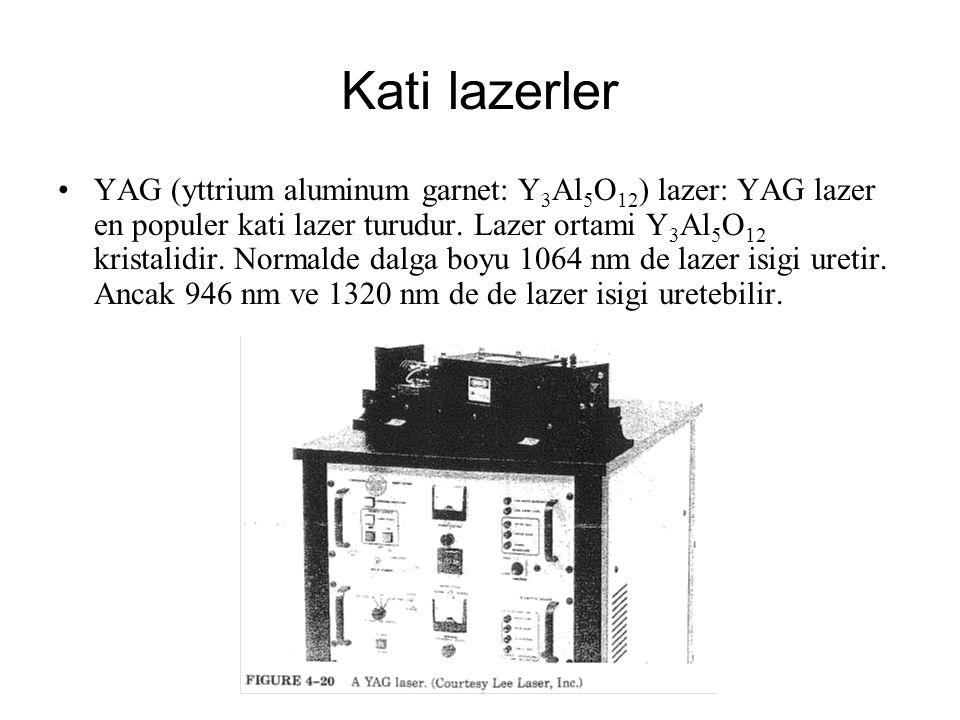 Kati lazerler YAG (yttrium aluminum garnet: Y 3 Al 5 O 12 ) lazer: YAG lazer en populer kati lazer turudur. Lazer ortami Y 3 Al 5 O 12 kristalidir. No