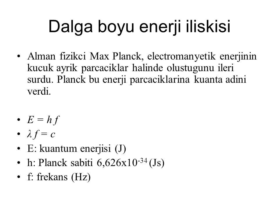 Dalga boyu enerji iliskisi Ornek: 555 nm dalgaboyundaki elektromanyetik dalganin enerjisini bulunuz.