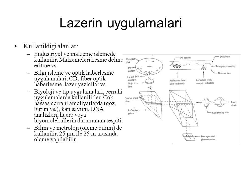 Lazerin uygulamalari Kullanildigi alanlar: –Endustriyel ve malzeme islemede kullanilir. Malzemeleri kesme delme eritme vs. –Bilgi isleme ve optik habe