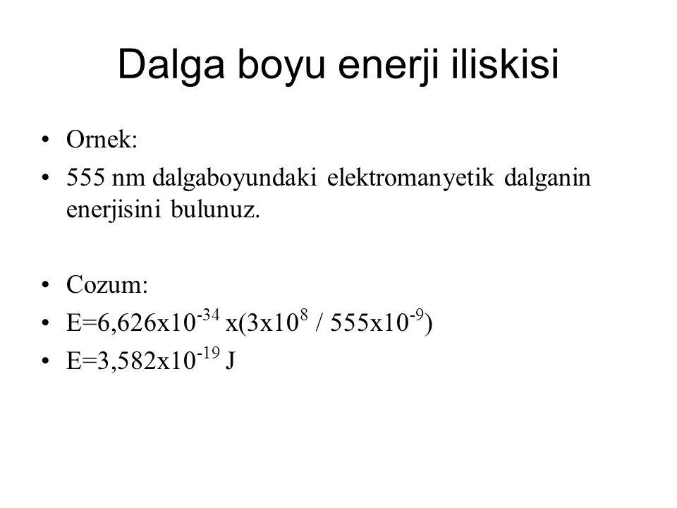 Dalga boyu enerji iliskisi Ornek: 555 nm dalgaboyundaki elektromanyetik dalganin enerjisini bulunuz. Cozum: E=6,626x10 -34 x(3x10 8 / 555x10 -9 ) E=3,
