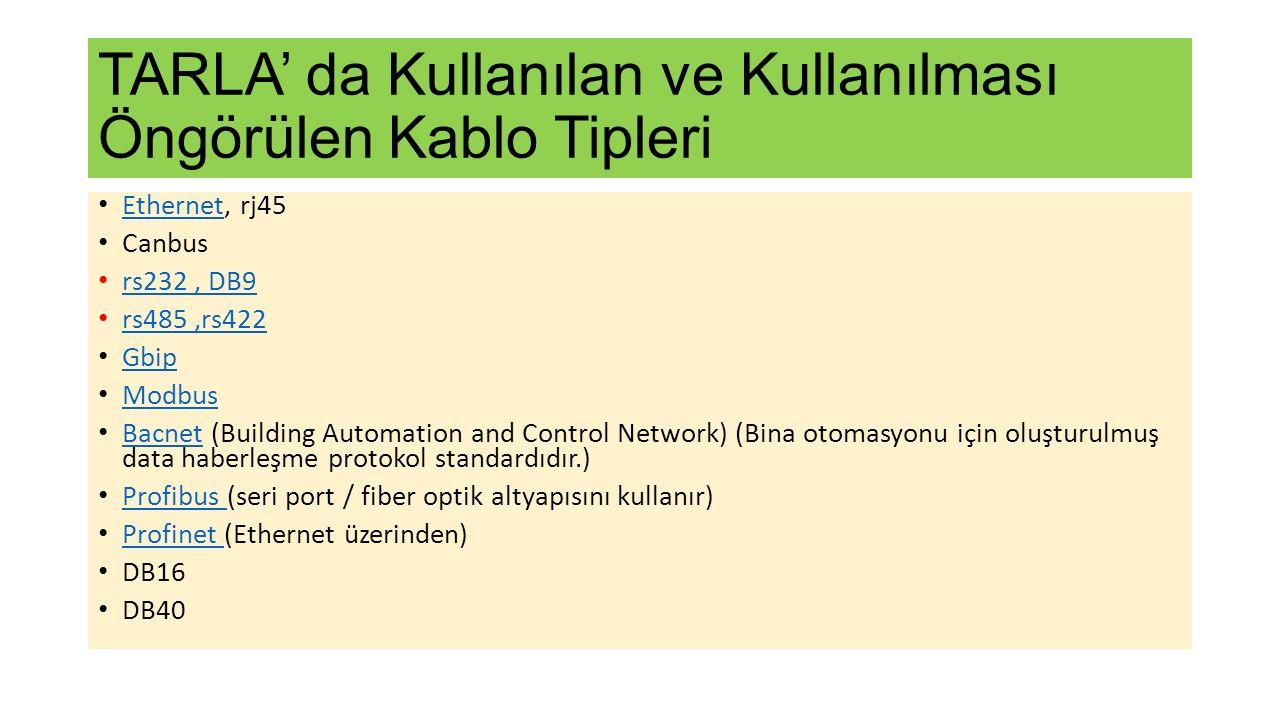TARLA' da Kullanılan ve Kullanılması Öngörülen Kablo Tipleri Ethernet, rj45 Ethernet Canbus rs232, DB9 rs485,rs422 Gbip Modbus Bacnet (Building Automation and Control Network) (Bina otomasyonu için oluşturulmuş data haberleşme protokol standardıdır.) Bacnet Profibus (seri port / fiber optik altyapısını kullanır) Profibus Profinet (Ethernet üzerinden) Profinet DB16 DB40