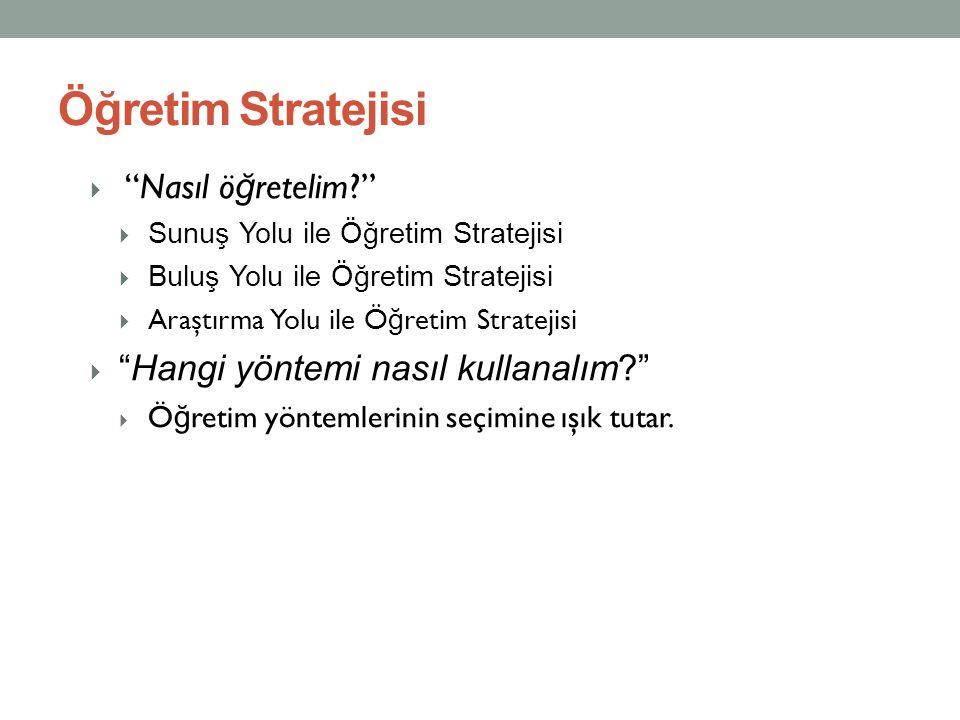 """Öğretim Stratejisi  """"Nasıl ö ğ retelim?""""  Sunuş Yolu ile Öğretim Stratejisi  Buluş Yolu ile Öğretim Stratejisi  Araştırma Yolu ile Ö ğ retim Strat"""
