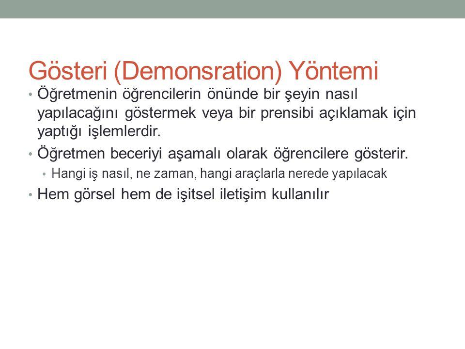 Gösteri (Demonsration) Yöntemi Öğretmenin öğrencilerin önünde bir şeyin nasıl yapılacağını göstermek veya bir prensibi açıklamak için yaptığı işlemler