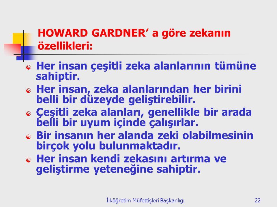 İlköğretim Müfettişleri Başkanlığı22 HOWARD GARDNER' a göre zekanın özellikleri:  Her insan çeşitli zeka alanlarının tümüne sahiptir.