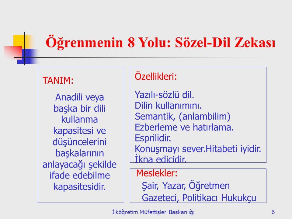 İlköğretim Müfettişleri Başkanlığı37 MANTIKSAL MATEMATİKSEL ZEKA 1.