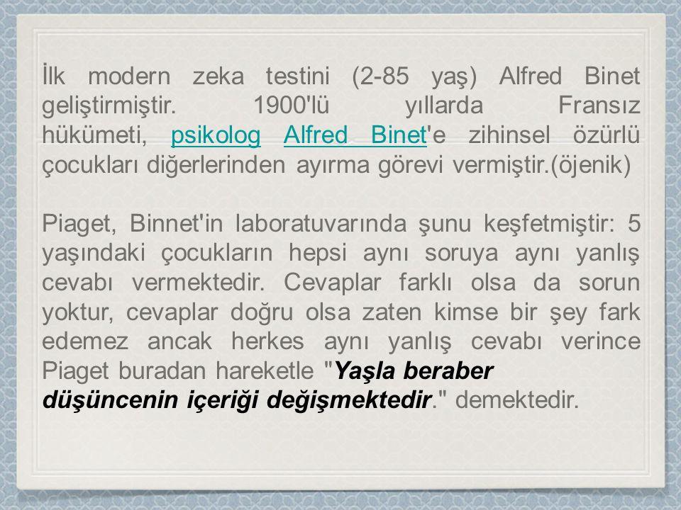 İlk modern zeka testini (2-85 yaş) Alfred Binet geliştirmiştir.