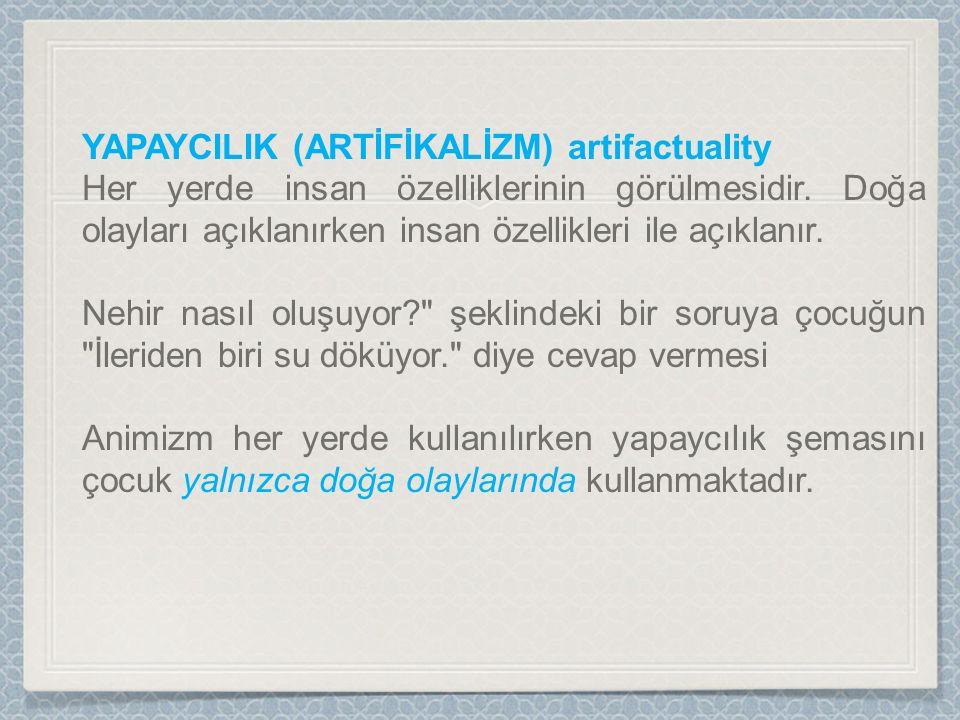 YAPAYCILIK (ARTİFİKALİZM) artifactuality Her yerde insan özelliklerinin görülmesidir.