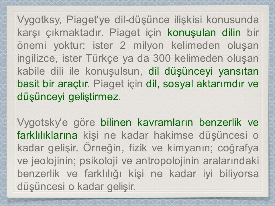 Vygotksy, Piaget ye dil-düşünce ilişkisi konusunda karşı çıkmaktadır.