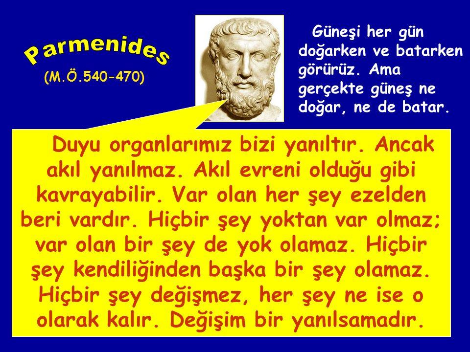 Varlık nedir, sorusunu soran ve felsefi olarak cevap arayan ilk filozof Parmenides'tir. Varlığı, Varlıktaki değişimi ve hakikati yalnızca akılla kavra