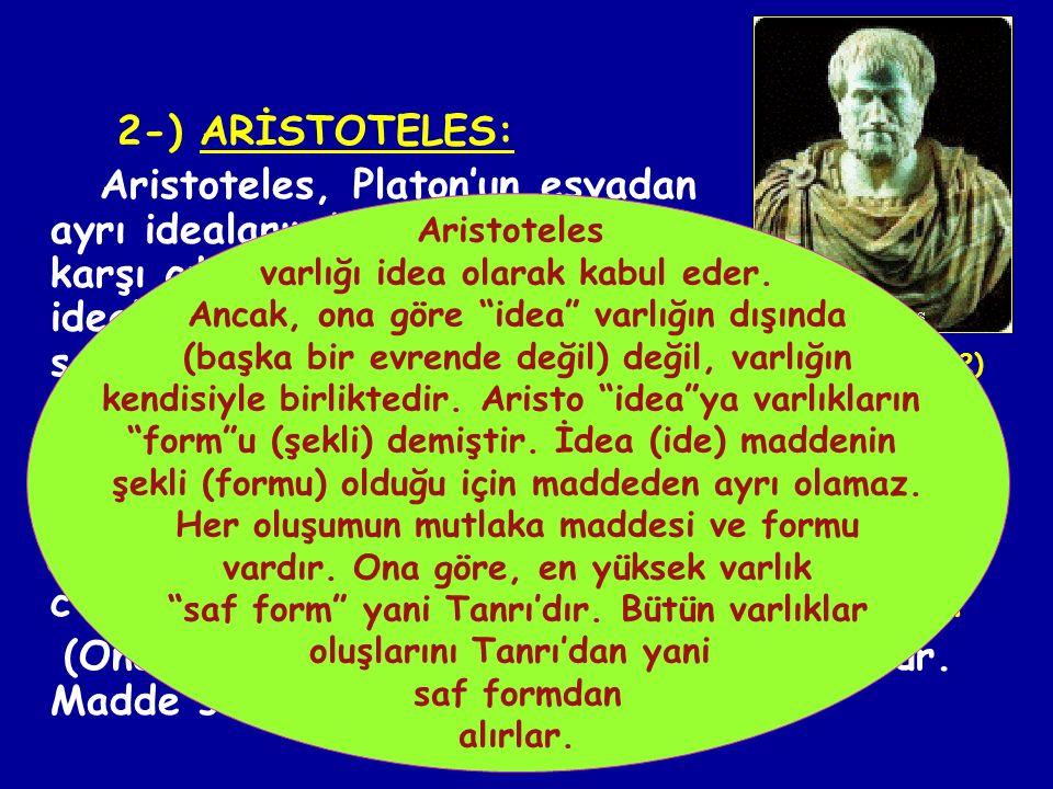 1-) PLATON: İdealar kuramının kurucusudur ve idealizmin de kurucusu sayılır. Platon da varlık sorununun çözümü, idealar ve nesneler dünyasının ayırt e