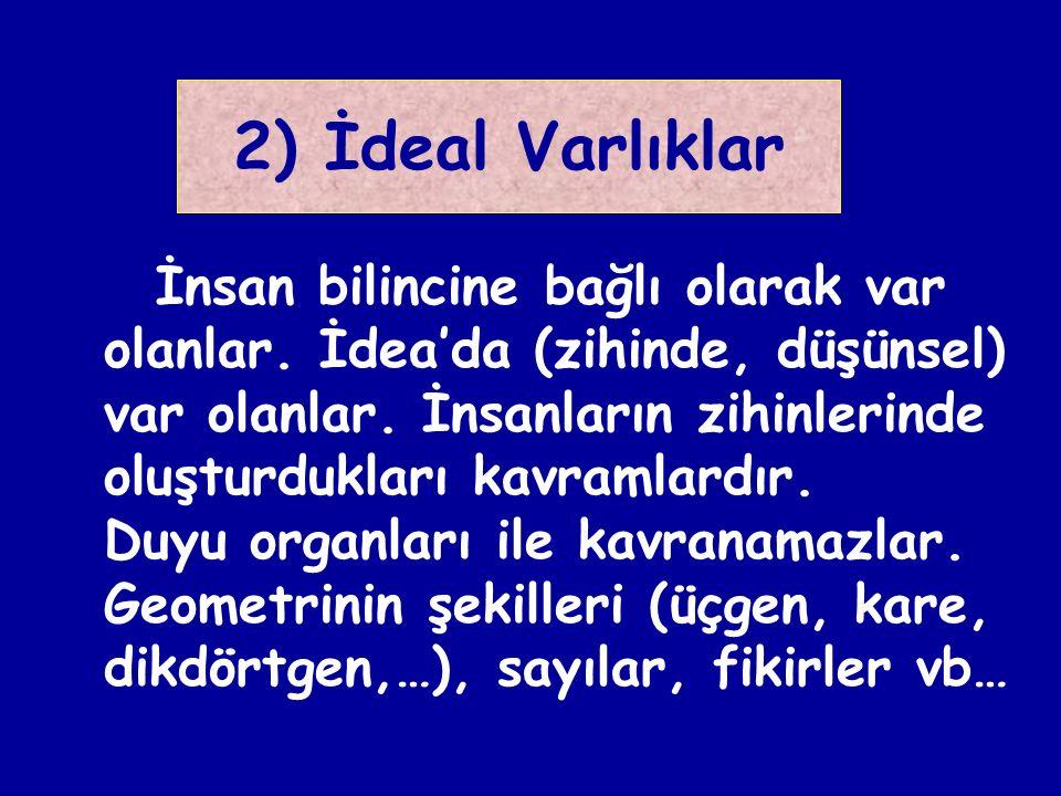 2) İdeal Varlıklar İnsan bilincine bağlı olarak var olanlar.