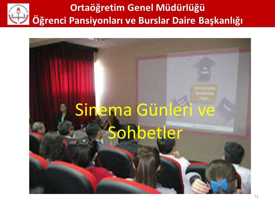 Ortaöğretim Genel Müdürlüğü Öğrenci Pansiyonları ve Burslar Daire Başkanlığı 71 Sinema Günleri ve Sohbetler