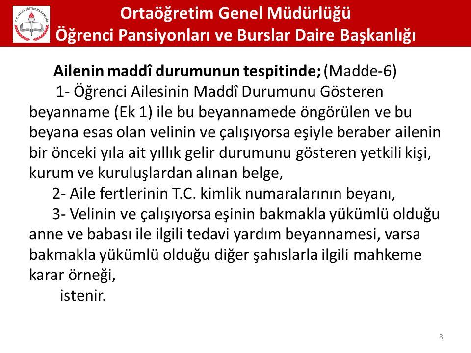 Ortaöğretim Genel Müdürlüğü Öğrenci Pansiyonları ve Burslar Daire Başkanlığı 39 Pansiyonda kimler barındırılamaz.